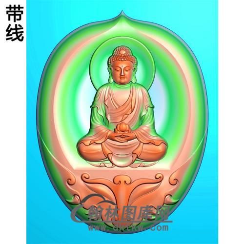 弧形外框坐姿佛像精雕图(ZFX-097)