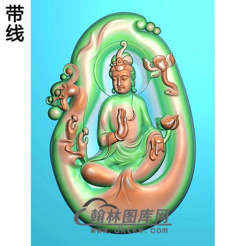 随形悟道观音挂件精雕图(ZGY-266)