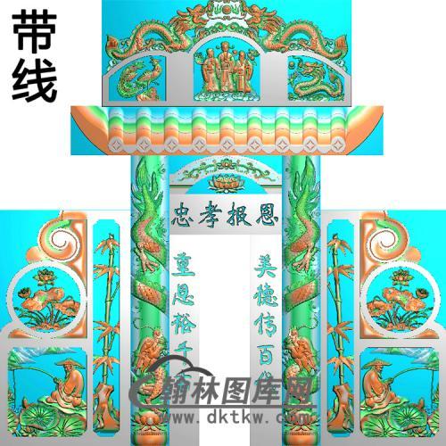石雕墓碑套图精雕图(ZHTB-1)