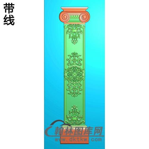 复杂洋花柱板精雕图(ZB-078)