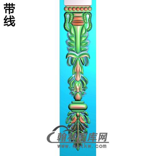 洋花贴花柱板精雕图(ZB-082)