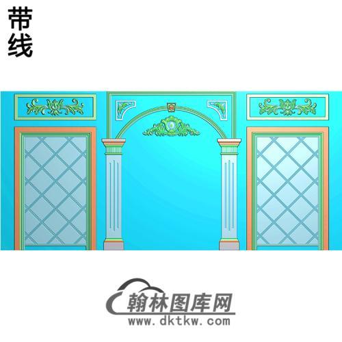 整体背景墙精雕图(BJQ-211)