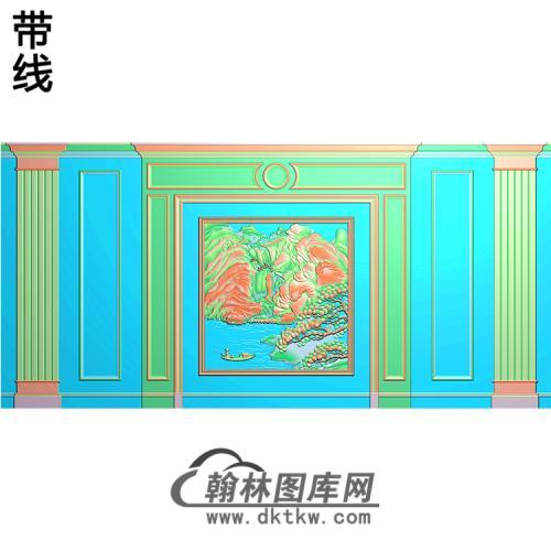 整体背景墙精雕图(BJQ-213)