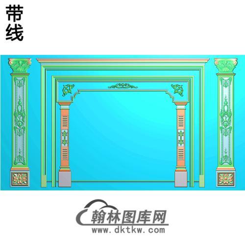 整体背景墙精雕图(BJQ-214)