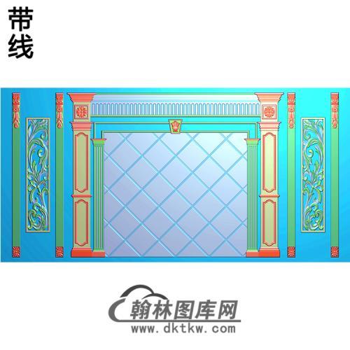 整体背景墙精雕图(BJQ-216)