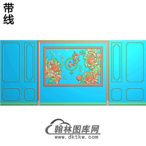 整体背景墙精雕图(BJQ-219)