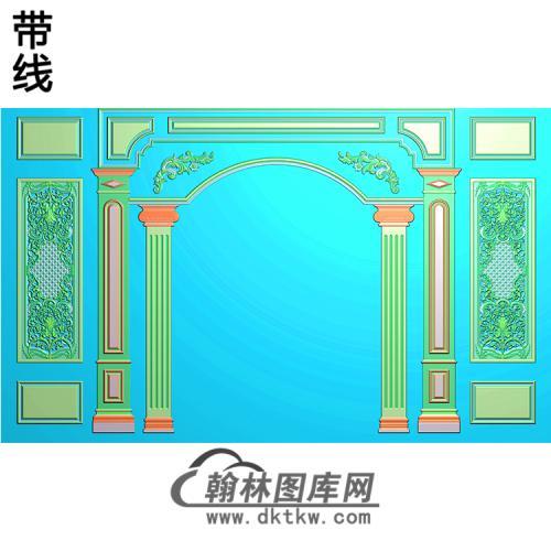 整体背景墙精雕图(BJQ-225)