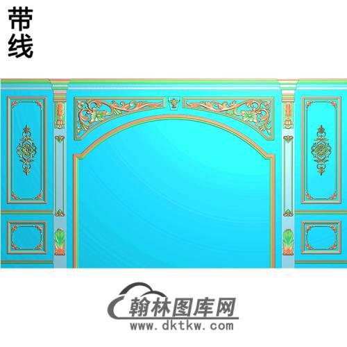 整体背景墙精雕图(BJQ-228)