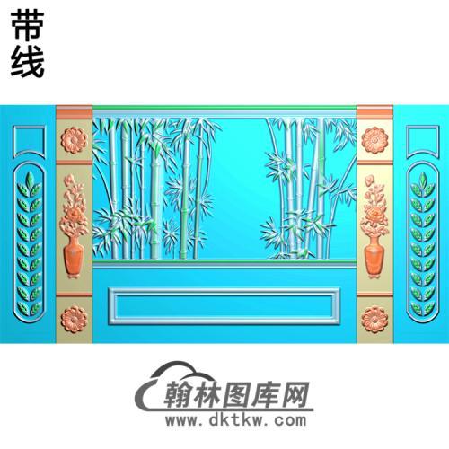 竹子整体背景墙精雕图(BJQ-239)