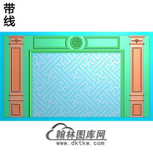 万字纹整体背景墙精雕图(BJQ-244)