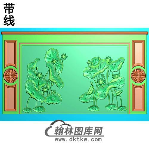 荷花整体背景墙精雕图(BJQ-246)