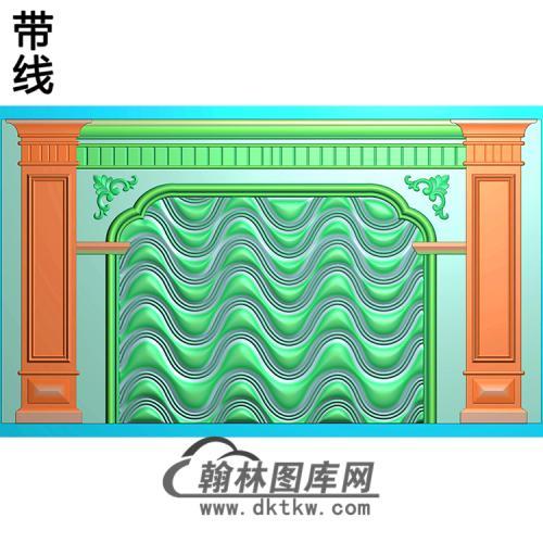 波浪整体背景墙精雕图(BJQ-249)
