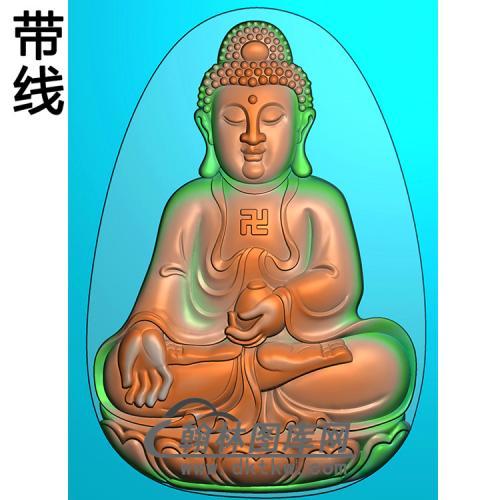 莲花座宝瓶坐姿佛像精雕图(ZFX-363)