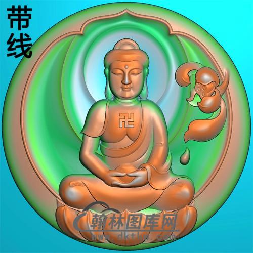 莲花宝瓶坐姿佛像精雕图(ZFX-366)