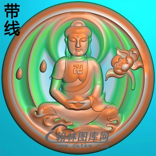 莲花宝瓶坐姿佛像精雕图(ZFX-368)