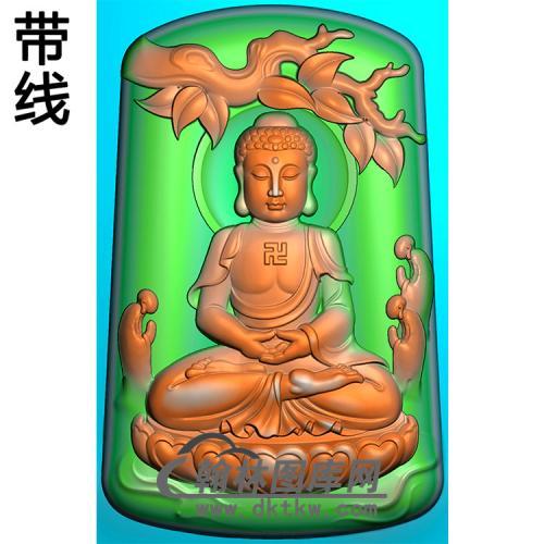 树木叶子多佛拜佛坐姿佛像精雕图(ZFX-374)