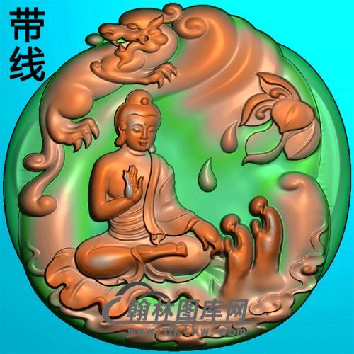 动物多佛拜佛坐姿佛像精雕图(ZFX-376)