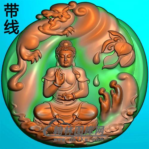 动物多佛拜佛坐姿佛像精雕图(ZFX-377)