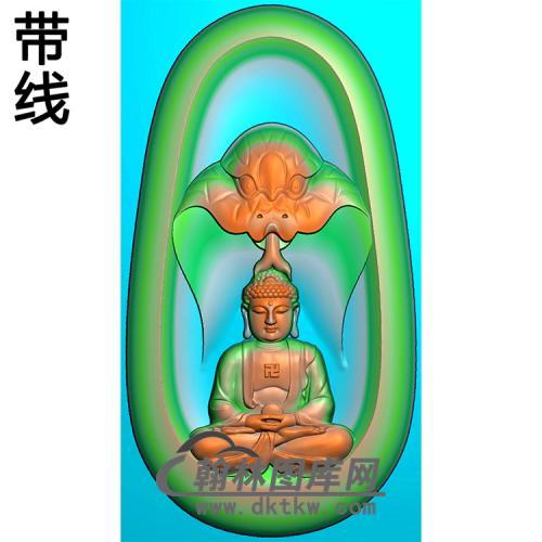 蛇头坐姿佛像精雕图(ZFX-380)