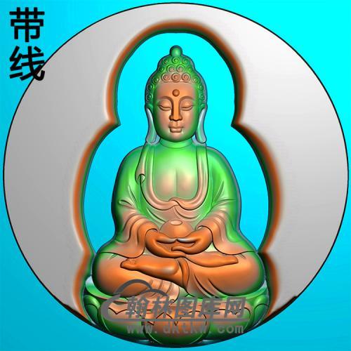 莲花座坐姿佛像精雕图(ZFX-381)