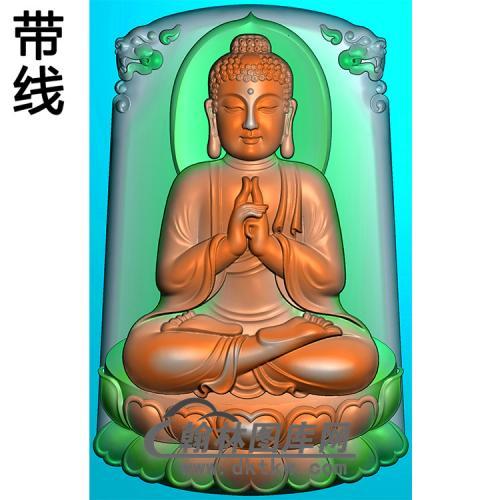 莲花座如来佛坐姿佛像精雕图(ZFX-387)