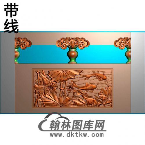 荷花鱼石材栏板精雕图浮雕图雕刻图HL-33有线