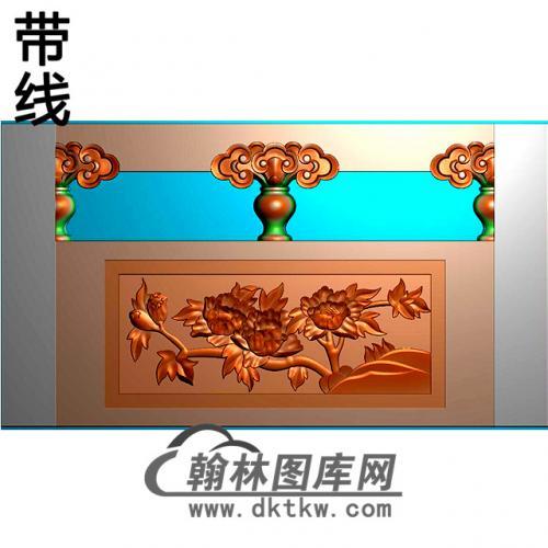 牡丹石材栏板精雕图浮雕图雕刻图HL-36有线