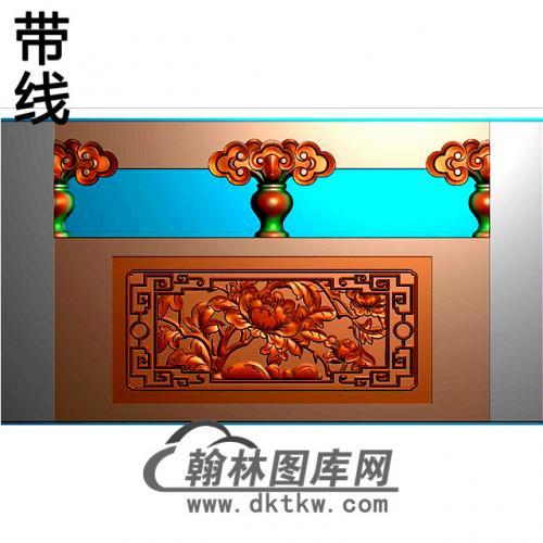 牡丹石材栏板精雕图浮雕图雕刻图HL-42有线