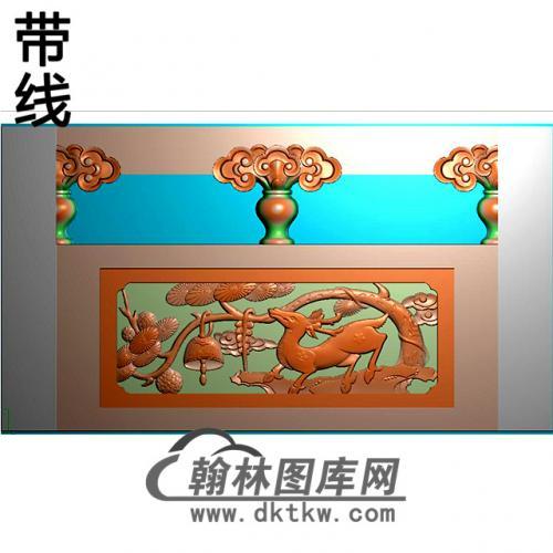 松鹿石材栏板精雕图浮雕图雕刻图HL-50有线