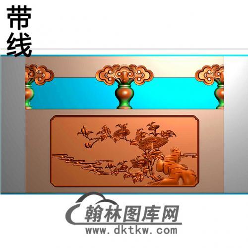菊花石材栏板精雕图浮雕图雕刻图HL-58有线