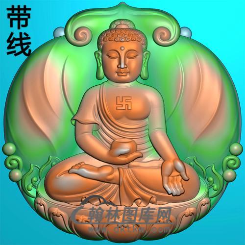 莲花宝瓶如来佛坐姿佛像精雕图(ZFX-392)