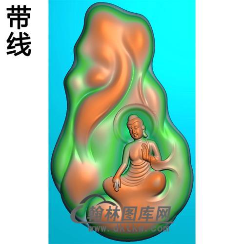 山岩石坐姿佛像精雕图(ZFX-400)