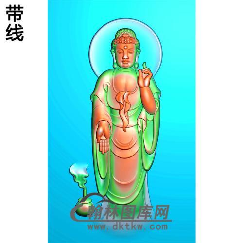 香炉背光站姿佛像精雕图(ZFX-021)