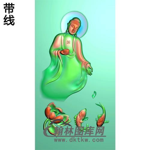 荷花鱼半身佛站姿佛像精雕图(ZFX-024)