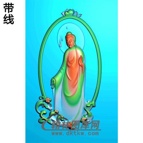 浪花边框站姿佛像精雕图(ZFX-028)