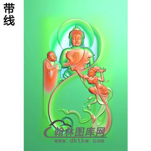 仙女和尚拜佛站姿佛像精雕图(ZFX-029)