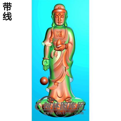 手捧莲花佛珠站姿佛像精雕图(ZFX-031)