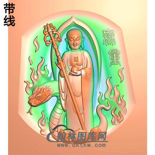 地藏佛蛇站姿佛像精雕图(ZFX-034)