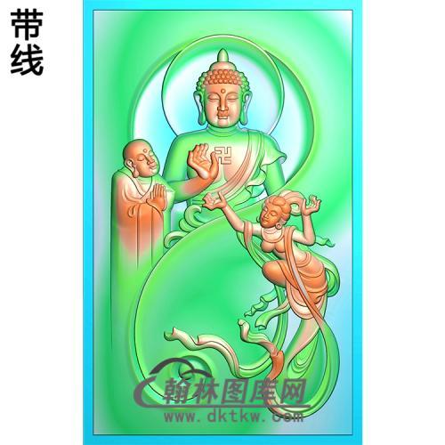 和尚仙女拜佛半身佛站姿佛像精雕图(ZFX-036)