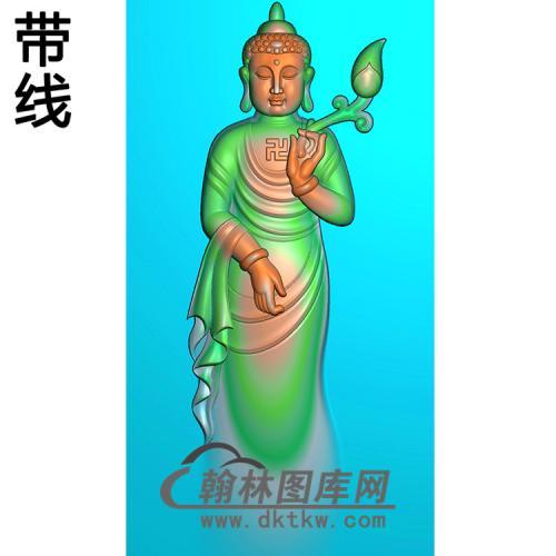 手拿莲花站姿佛像精雕图(ZFX-039)