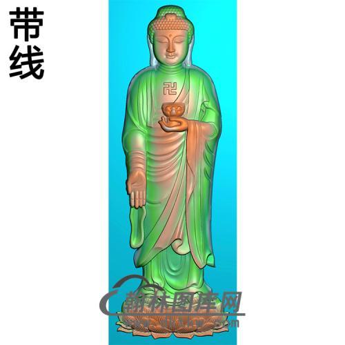 手捧莲花站姿佛像精雕图(ZFX-053)