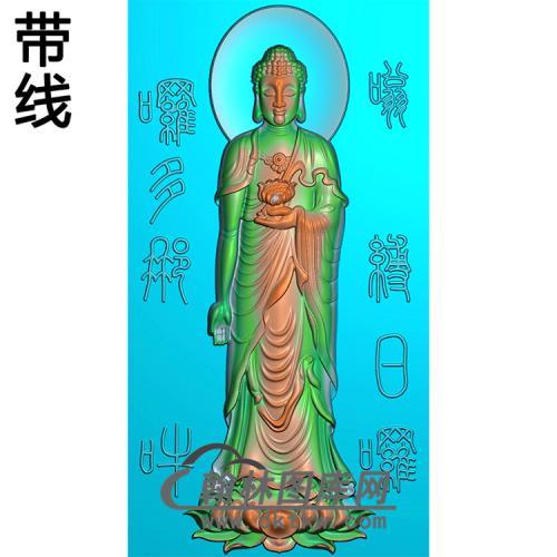 莲花座站姿佛像精雕图(ZFX-056)