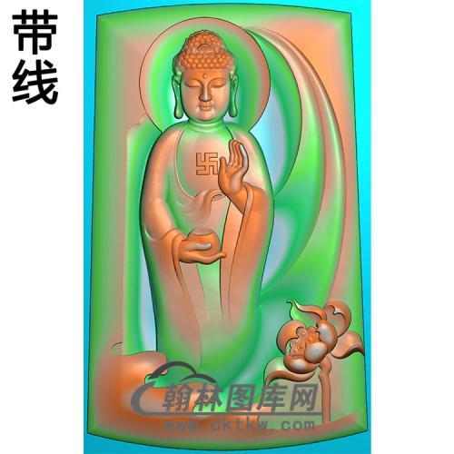 莲花站姿佛像精雕图(ZFX-064)