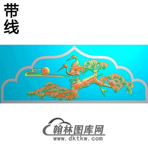松鹤碑头精雕图(MBBT-0218)