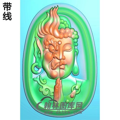 阴阳脸佛半身佛像精雕图(SFX-114)