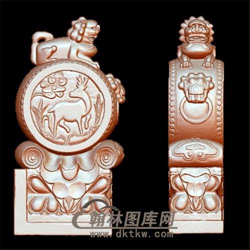 石雕鹿抱鼓石雕门墩圆雕图(YBG-001)