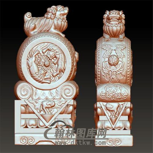 石雕双狮抱鼓石雕门墩圆雕图(YBG-002)