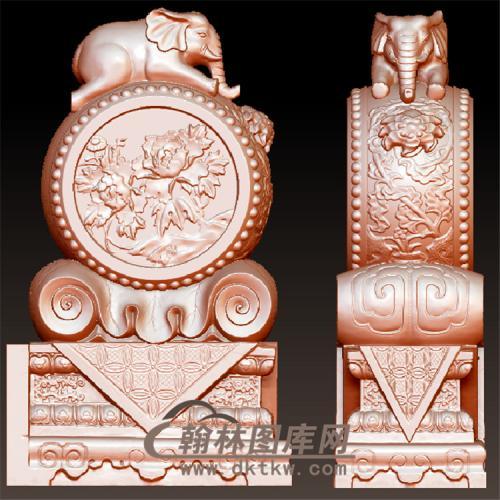 石雕大象牡丹抱鼓石雕门墩圆雕图(YBG-003)