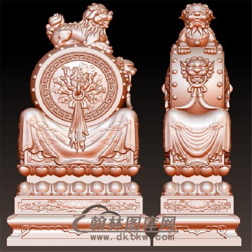 石雕牡丹抱鼓石雕门墩圆雕图(YBG-004)