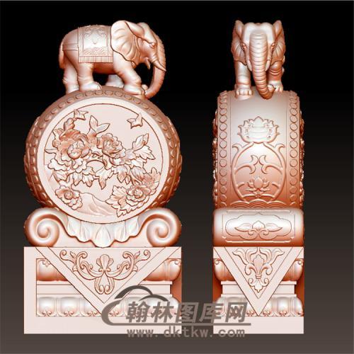 石雕大象牡丹抱鼓石雕门墩圆雕图(YBG-005)